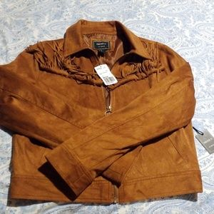 FOREVER 21 CALIFORNIA CAMEL COLOR FRINGED JACKET M